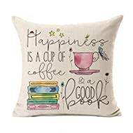 Kithomer Motivational Inspirational Quote Cotton Linen Home Decor Throw Pillow Case Cushion Cover for Sofa Couch 18 x 18 Inch (Coffee & a Good Book, 18 x 18)