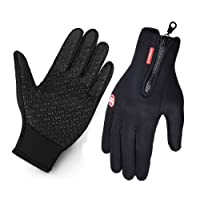 Cycling Gloves for Man and Women, Vdealen Touchscreen Gloves Winter Warm Tech Glove for Smart Phone Texting with Non-slip Silicone Gel - Thermal Cotton - Windproof for Running, Driving