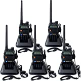 Retevis RT-5R Talkie Walkie Rechargeable Double Bande UHF 400-520MHz VHF 136-174MHz 128 Canaux 50 CTCSS/105 DCS VOX Radio FM (Noir, 5 packs)