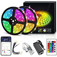 YORUKAU Led Strip Lights - RGB 300 LEDs - Controlled by WiFi Smart Phone - Bluetooth or Key Remote - Waterproof - Led…
