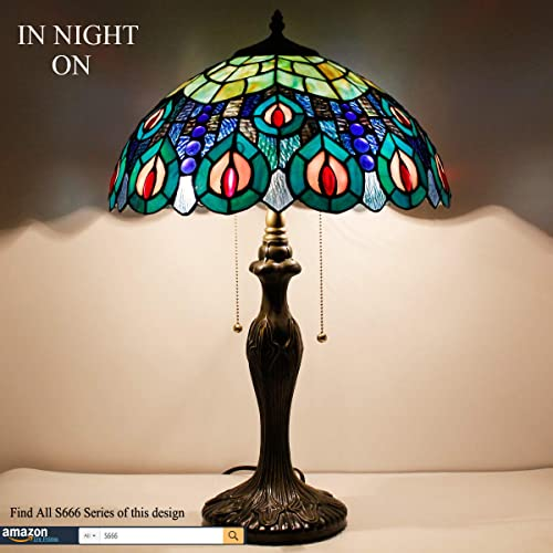 Tiffany Style Table Lamp W16H24 Inch LED Bulb Included Sea Blue Stained Glass Peacock Shade S666 WERFACTORY Desk Bedside Reading Light Lover Friend Living Room Bedroom Cafe Office Antique Crafts Gifts