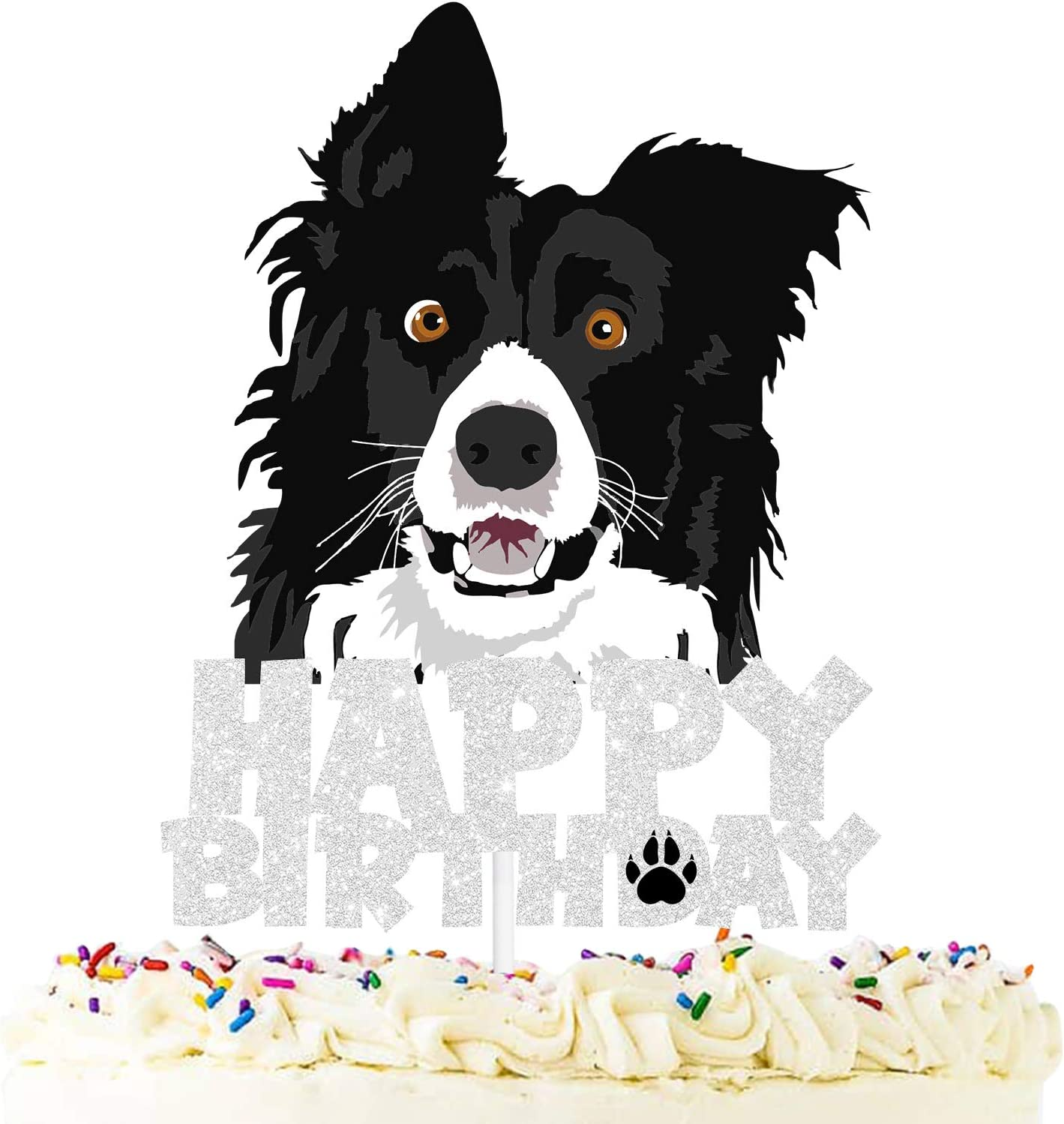 Pet themed Party Silver Glitter Decoration Supplies Dog Happy Birthday Cake Topper