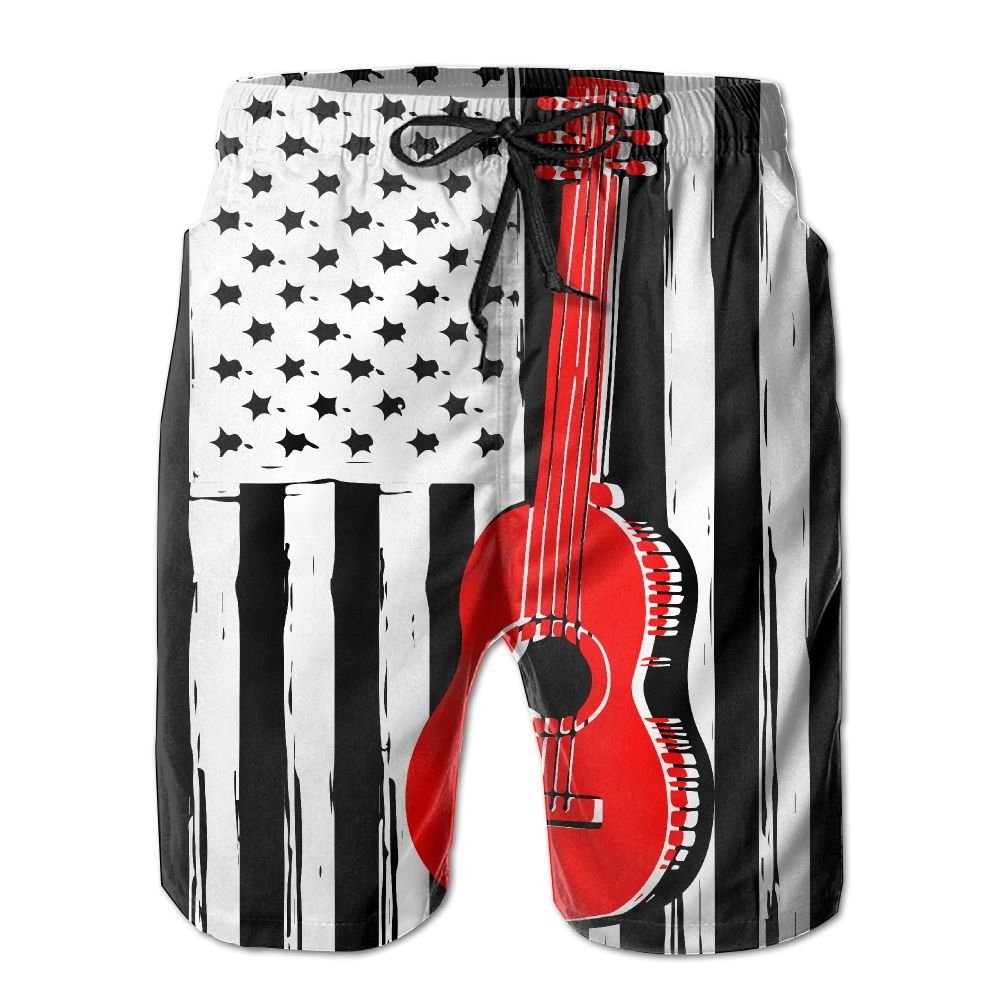 Guitar US Flag Guitar Lover Gifts Men's Tropical Quick Dry Board Shorts Bathing Suits Swimwear Volley Beach Trunks by Gr8tbar