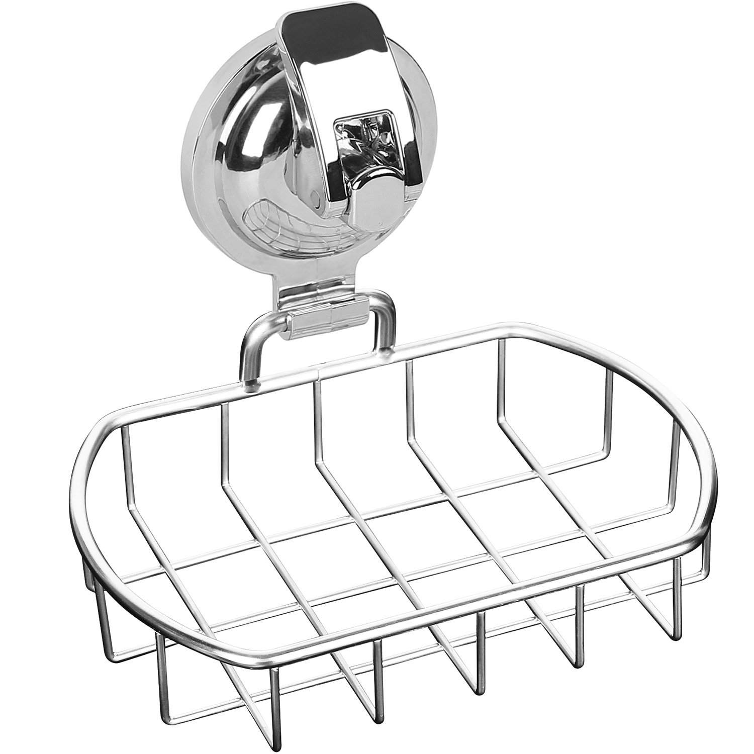 Anwenk Soap Dish Stainless Steel Vacuum Suction Cup Soap Dish Powerful Soap Saver Dish Soap Tray Soap Holder for Shower Bathroom & Kitchen