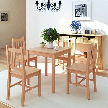 festnight 5 piezas mesa de comedor sillas juego de comedor ...