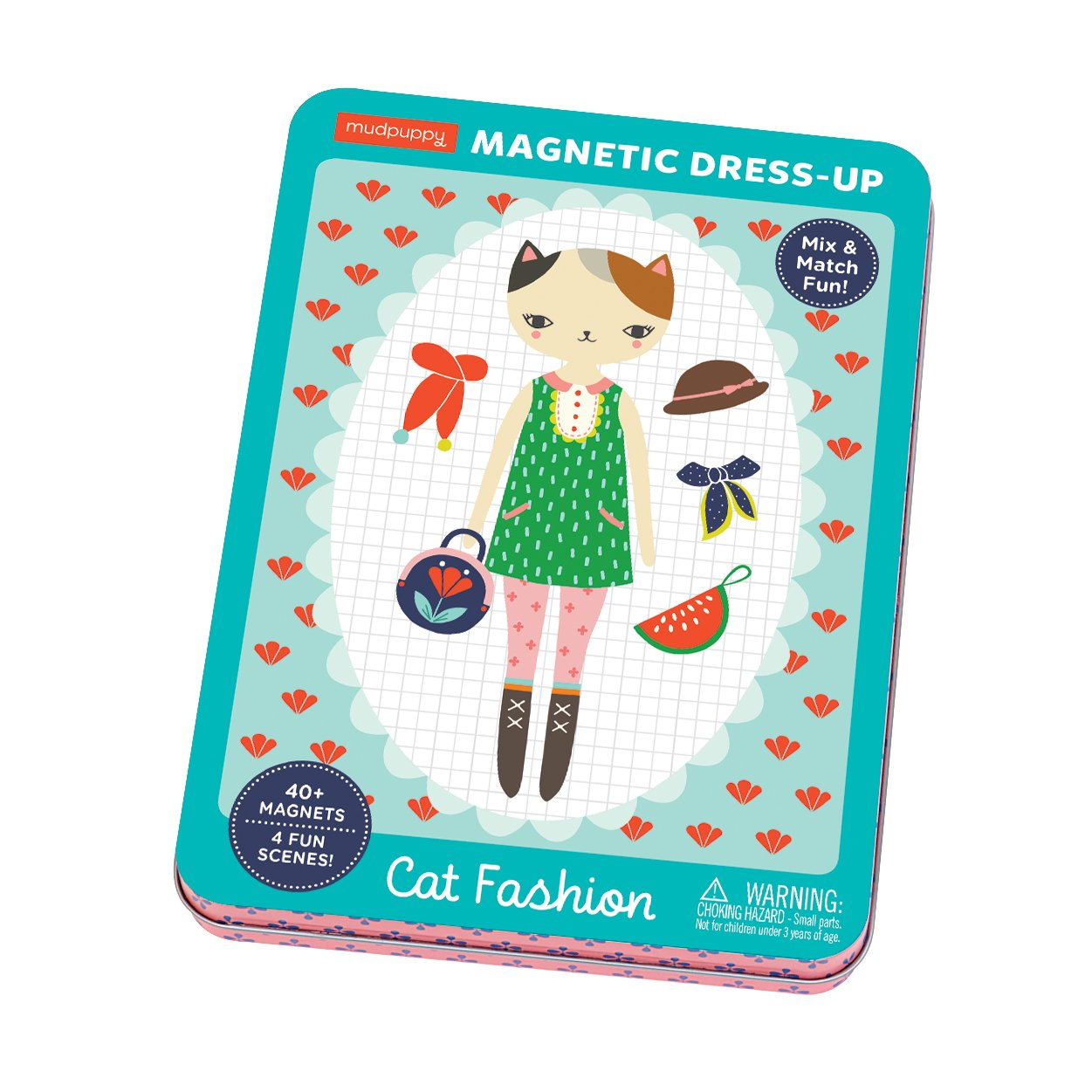 Mudpuppy Cat Fashion Magnetic Dress-Up Doll, for Age 4+, Magnetic Tin Play Set with Fun Scenes, 40+ Magnets to Dress Up Cute Kitty Friends, Great for Travel and Quiet Time by Mudpuppy