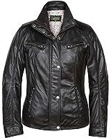 Erin: Ladies Leather Jacket Navy: Amazon.co.uk: Clothing