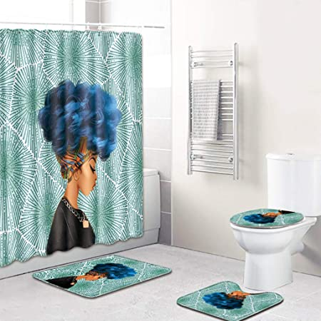 4pcs Africa Girl Polyester Shower Curtain+Bathroom Mat Bath Pad Cover Set Decor