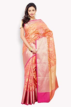 7e95ecc71 Indian Ethnic Peach Chanderi Kota Zari Weave Banarasi Saree  Amazon ...