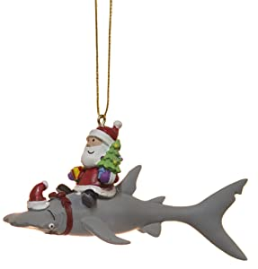 Cape Shore Santa Riding Hammerhead Shark Coastal Deep Sea Christmas Holiday Ornament