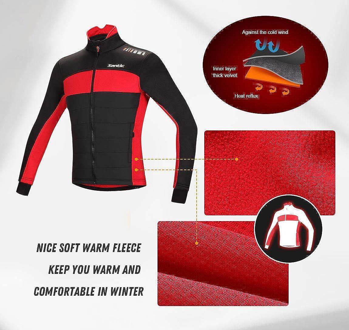 Mens Cycling Jacket Winter Thermal Fleece Windproof Long Sleeve Jersey Coat