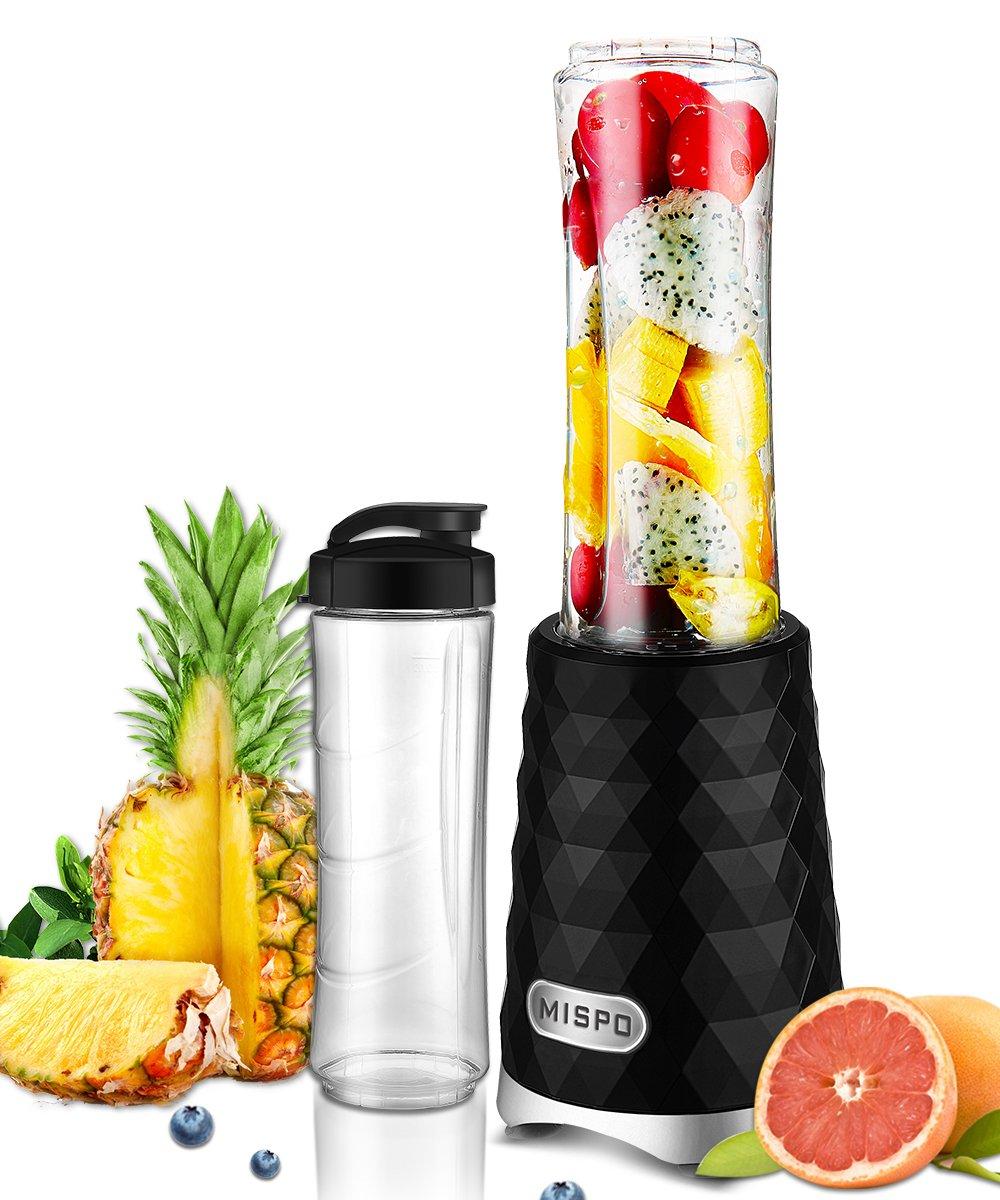 MISPO Personal Blender, Smoothie Maker, Stainless Steel Single Serve Blender, with Travel Lid and Tritan BPA Free Sport Bottle, 250W, Black