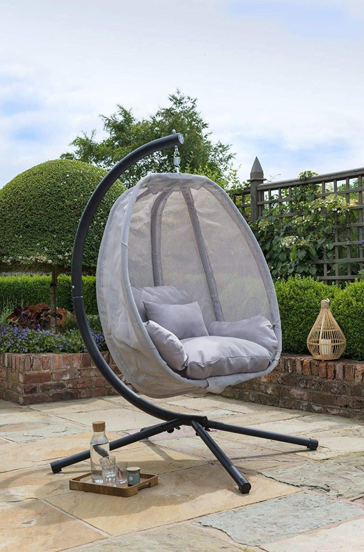 Grey Cocoon Hanging Egg Chair Swing Textilene Garden Furniture In Or Outdoor Amazon Co Uk Garden Outdoors