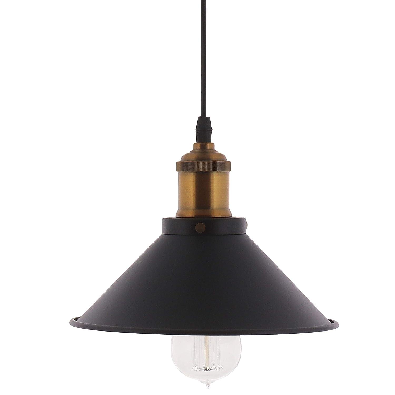 Barnyard Designs Pendant Light Modern Chic Industrial Hanging Light Fixture Black 8' Cord Matte Finish Lamp Shade Brass Socket