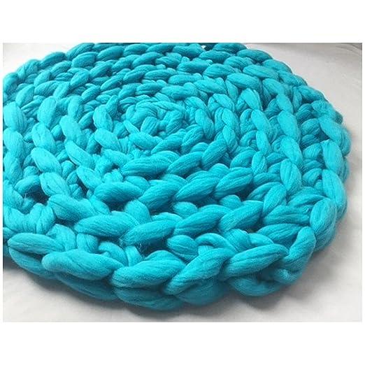 Chunky Knit alfombra de lana ganchillo cojín redondo Crochet ...