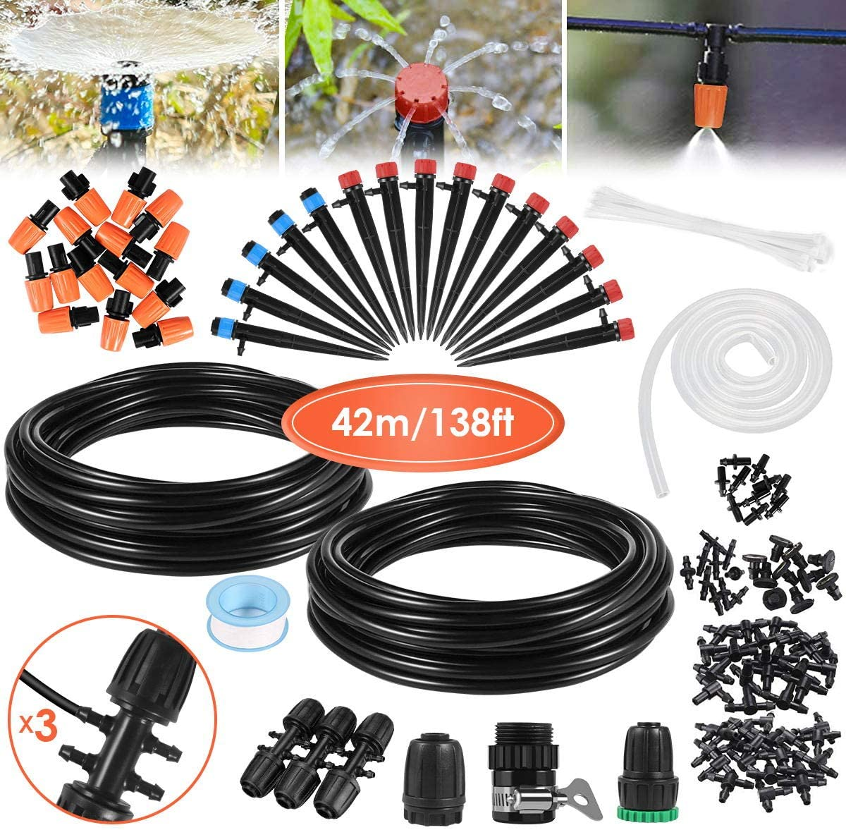 Automatic 138ft Drip Irrigation Kit with Adjustable Nozzle