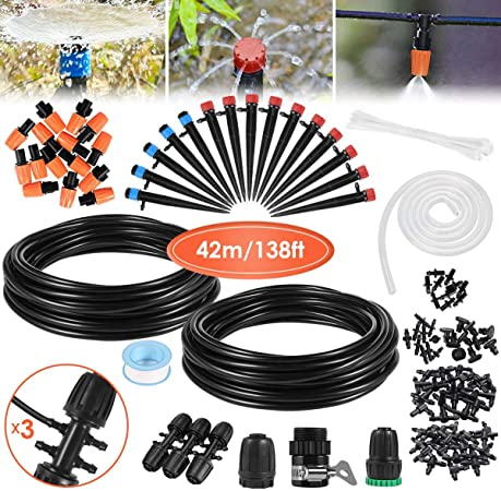 GOTSEVEN Drip Irrigation Kit, 42m/138ft Garden Irrigation System with Adjustable Nozzle - Best Pick