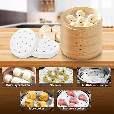 Disposable Non-stick Bamboo Food Steamer Paper for Steam Basket Air Fryer 6A