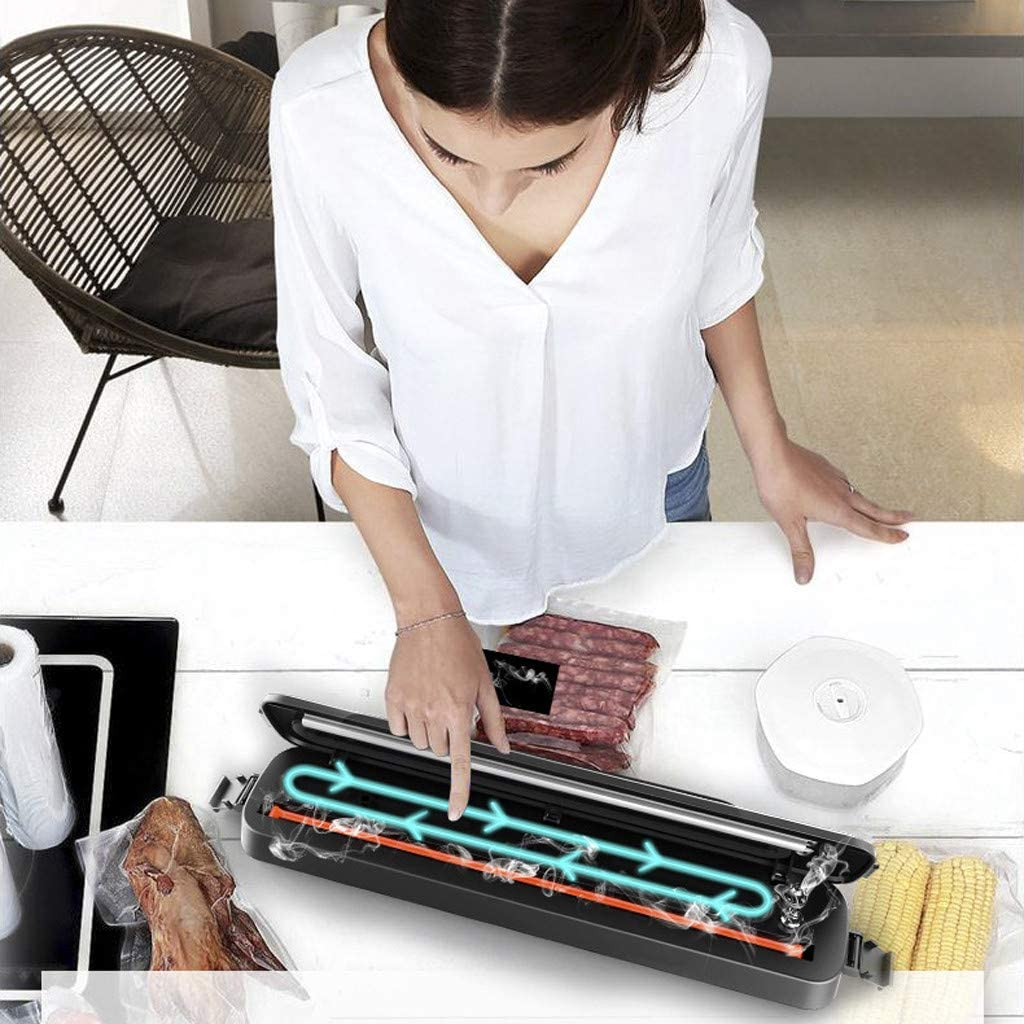 Weite Household Automatic Vacuum Sealer Machine with Packaging Bags, Food Preservation Vacuum Air Sealing System - Anti-mildew, Anti-bacterial, Anti-oxidation (Black)