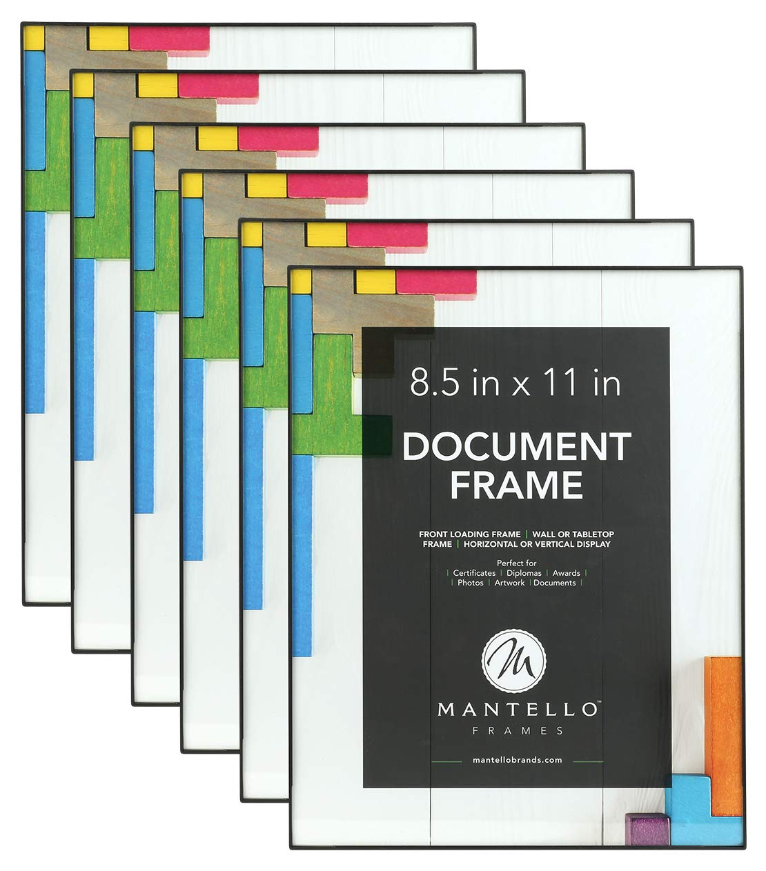 Mantello 8.5x11 Inch Picture Frame 6-Pack, Black, Front Loading Design, Certificate Diploma Document Frame by Mantello
