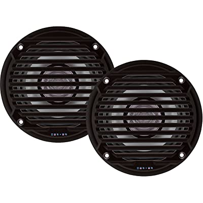 "Jensen MS5006BR Pair of MS5006B 5.25"" Black Dual Cone Waterproof Speaker, 30 Watts Max Power Handling, Sensitivity @ 1W/1 Meter 88dB, Frequency Response 65Hz-20kHz, Nominal Impedance 4 Ohms, 5-15/16"" Grille Diameter, 4-3/8"" M"