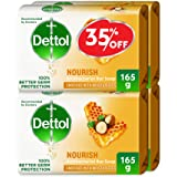 Dettol Nourish Anti-Bacterial Bar Soap 165g Pack Of 4 at 35% Off - Honey & Shea Butter
