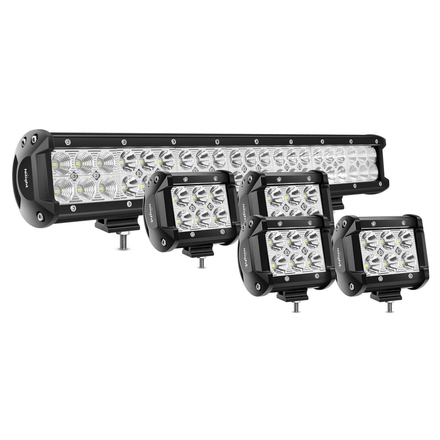 Nilight 20Inch 126W Spot Flood Combo Led Light Bar 4PCS 4Inch 18W Spot LED Pods Fog Lights for Jeep Wrangler Boat Truck Tractor Trailer Off-Road,2 years Warranty by Nilight
