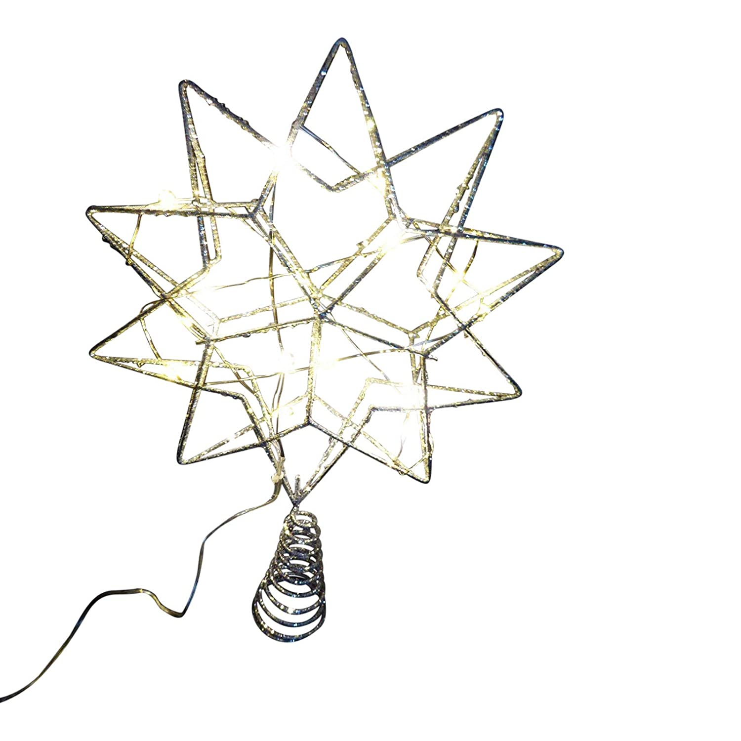 Christmas Decorations Christmas Tree Topper 35cm Large Battery Operated LED Lit Silver Glitter Star Indoor Use