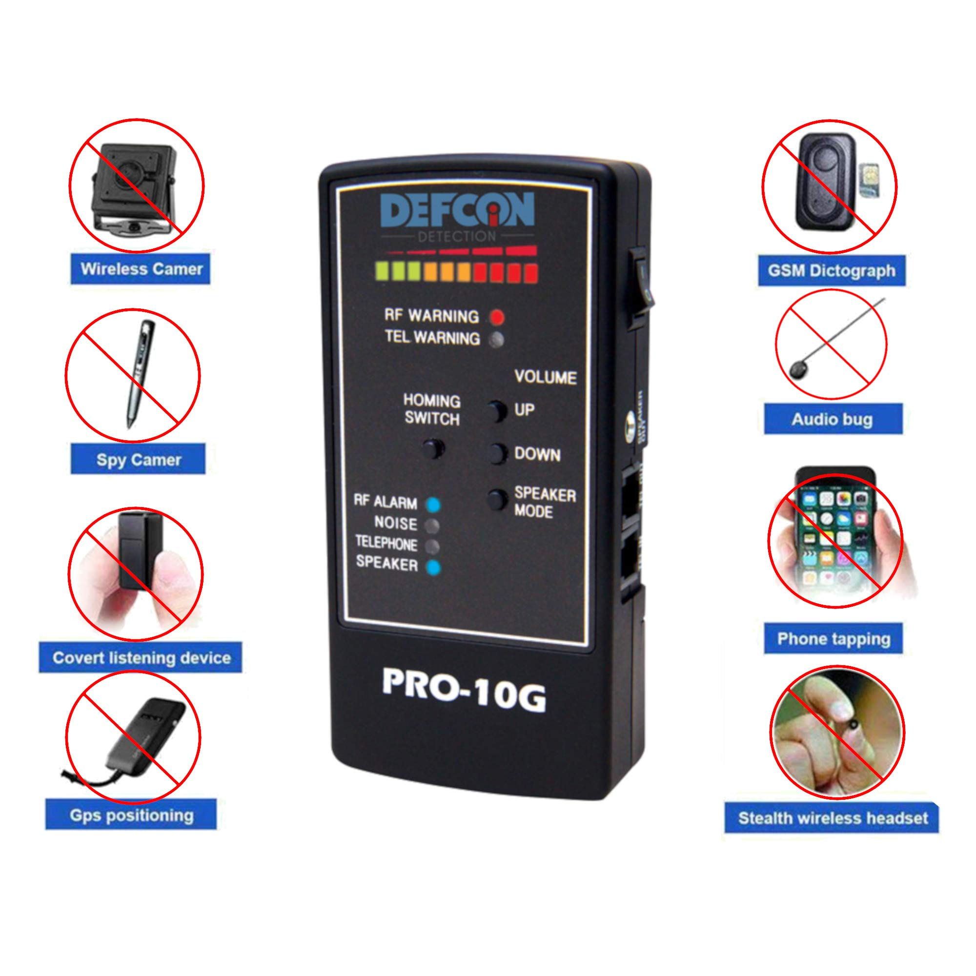 DefCon Security Products PRO-10G GPS Tracker Finder and Law-Grade Counter Surveillance Bug Sweep - Newest Professional Handheld Detection of All Active GPS Trackers, Mobile Phones