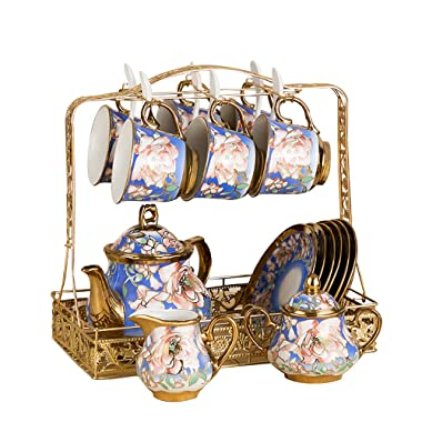 HAYC 15 pieces of European-style ceramic tea set Set, bone china tea cup Set, tea set, porcelain cup, adult tea set Set metal bracket (Pink flower)