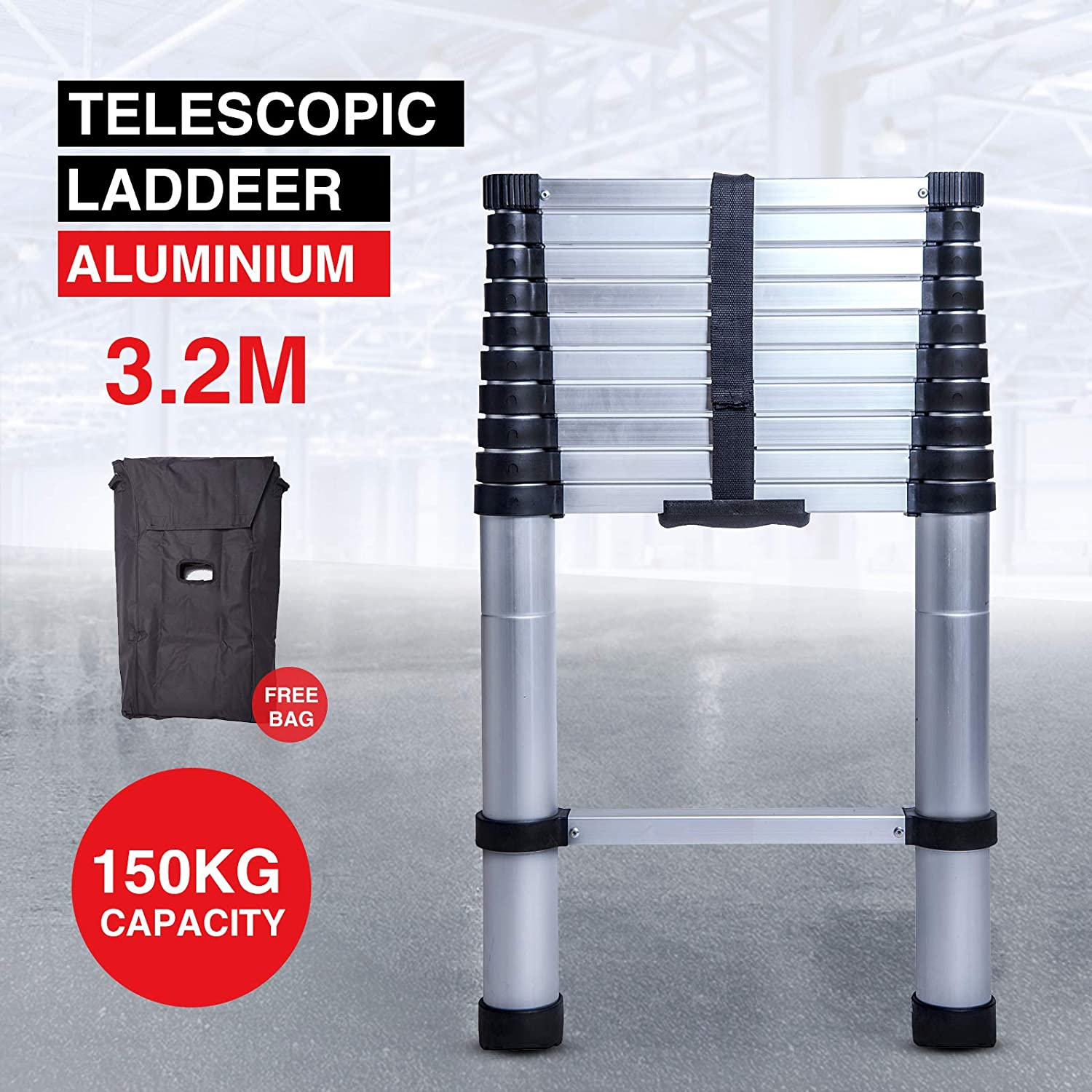 Idealchoiceproduct 10.5 FT Aluminium Telescopic Telescoping Ladder Free bag
