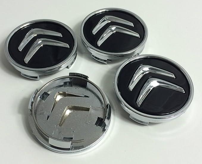 Image ofJuego de 4 tapacubos para Citroën, de 60 mm, tapas para llantas para C2, C4, C5, C6, de color negro con el logo cromado
