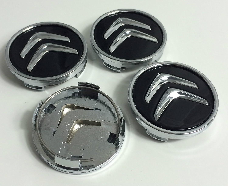 Juego de 4 tapacubos para Citroën, de 60 mm, tapas para llantas para C2, C4, C5, C6, de color negro con el logo cromado: Amazon.es: Coche y moto