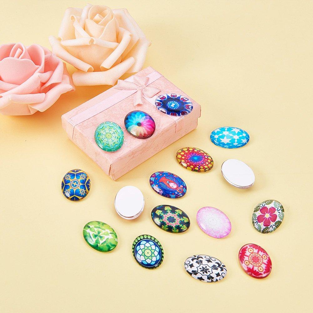 color mixto PandaHall-Cabujones de cristal de La mitad Ronda Dome Eye impresos 10x4mm