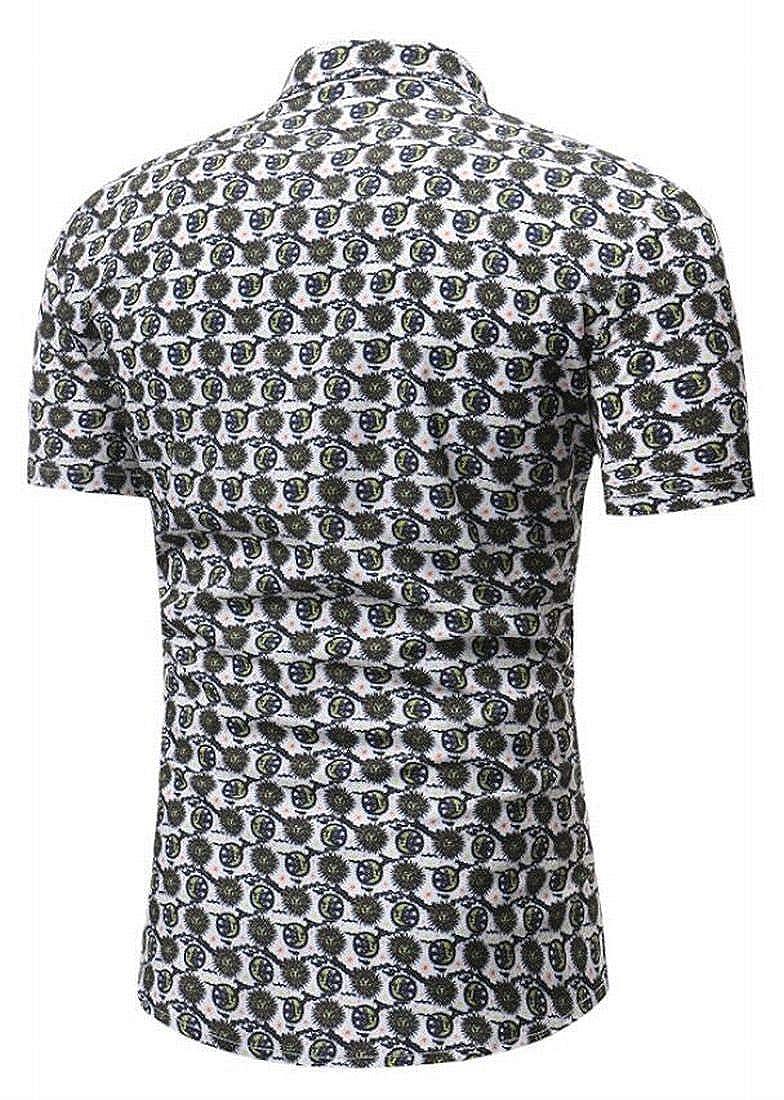 Nanquan Men Slim Fit Cotton Short Sleeve Casual Button Down Shirt
