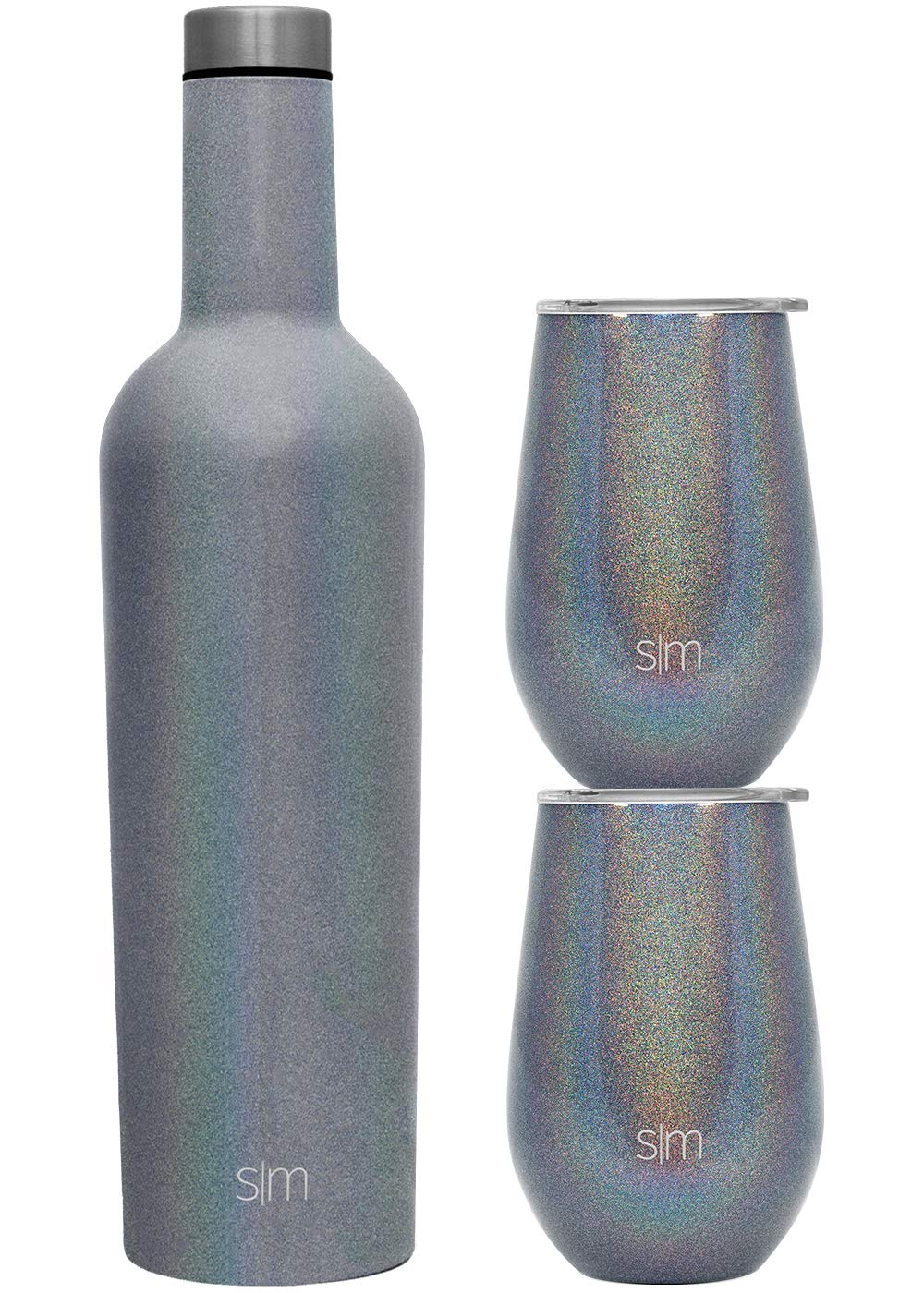 Simple Modern Spirit Wine Bundle - 2 12oz Wine Tumbler Glasses with Lids & 1 Wine Bottle - Vacuum Insulated 18/8 Stainless Steel Shimmer: Blue Moonstone