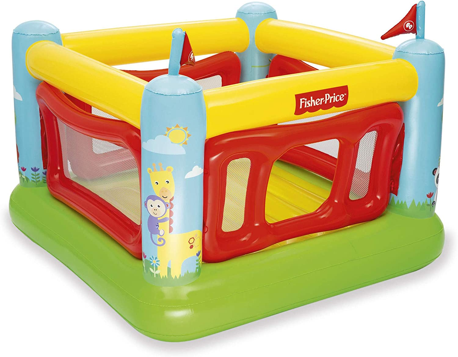 Fisher-Price 69 x 68 x 53 Inch Kids Indoor/Outdoor Bouncetastic Bouncer Inflatable Bounce House Bouncy Castle
