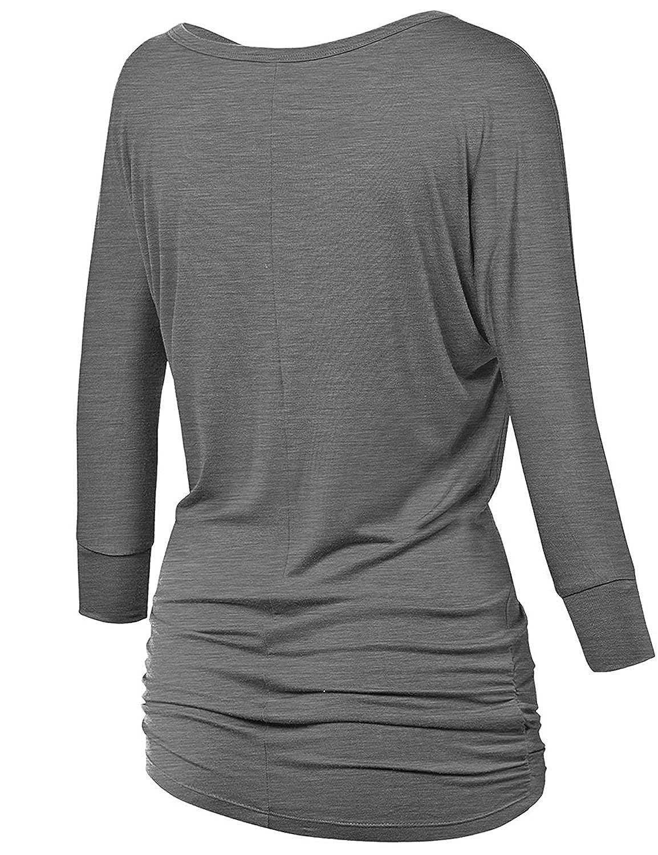 LYXIOF Femme Encolure Bateau T-Shirt Manches 3//4 Loisirs Top