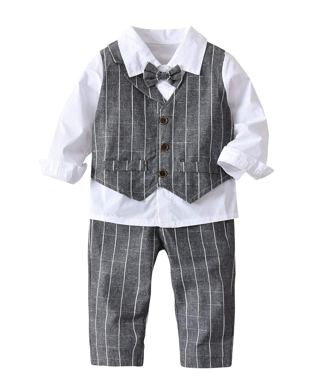 4Pcs Tollder Baby Boys Gentleman Set Stripe Vest Shirt Bowtie Clothes Formal Suit