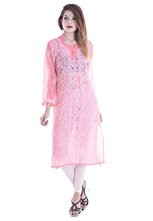 083a753bc79 Amazon.com  Indian Handicraft Indian Woman Georgette Lucknowi Chikankari  Embroidery Kurti Kurta Top Size- 44 Inches Pink  Clothing