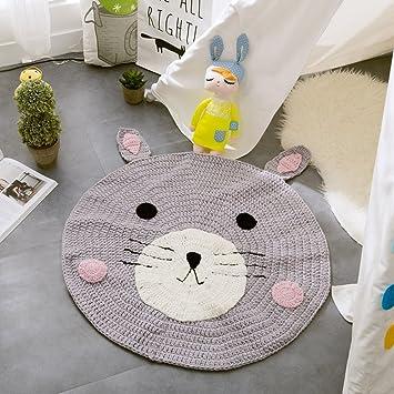 EnjoyBridalR Baumwolle Teppich Gestrickt Nordischen Stil Kreisfrmig Vorleger Wohnzimmer Kinderzimmer Spielteppich In Verschiedene Farbe