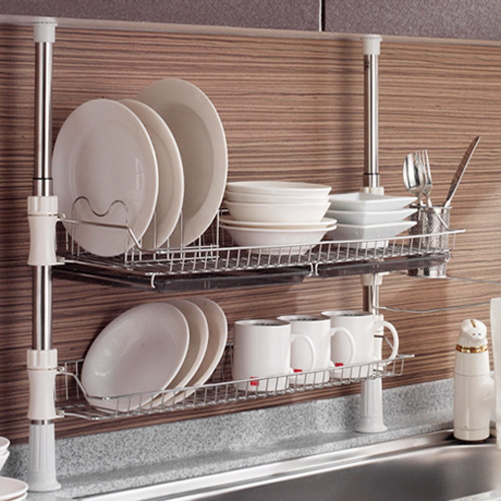 Asia Column Style Sink Rack Two Tier 800 Shelf Liner Dish Holder