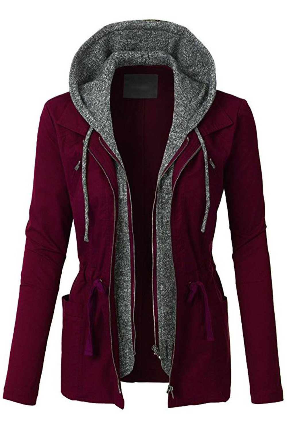 FASHION BOOMY Womens Zip Up Military Anorak Jacket W/Hood (Large, NL_Wine)
