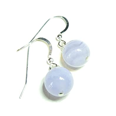 Blue Lace Agate & Sterling Silver Gemstone Ball Drop Earrings - 10mm mdLNGVCM