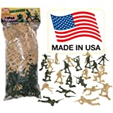 Tan vs Green TimMee Plastic Army Men: 100 Piece Set of 2 inch Toy Soldier Figures - Made in the USA !