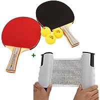 Tera-Red para mesa de Ping Pong/Netsportique-Red de tenis de mesa con postes portátiles de longitud flexible (blanco y negro)-Juego de 2 paletas de Ping Pong (Shakehand grip/Penhold) 3 pelotas de Ping Pong