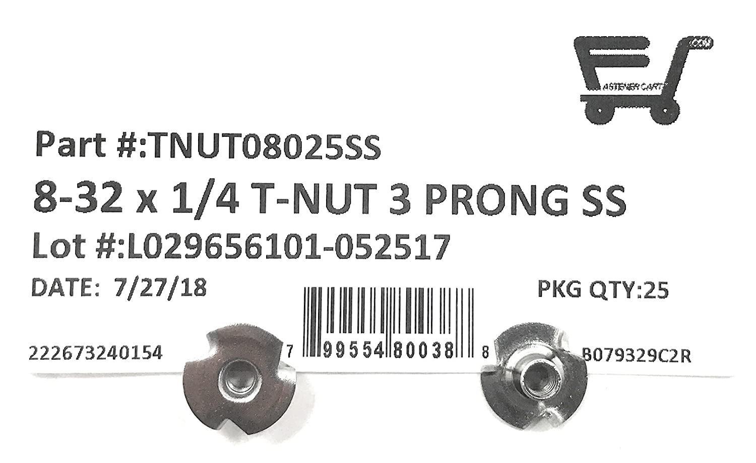 25 #8-32 Thread 1//4 Barrel Length T-NUT Stainless Steel 8-32x1//4 3 Prong Tee Nuts 18-8 Stainless - Pieces
