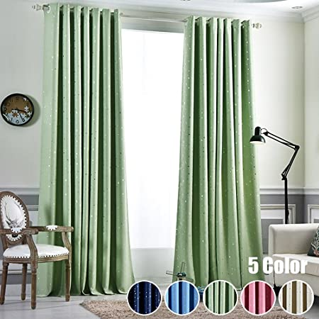 WPKIRA Blackout Draperies Curtains for Living Room Window Treatments Room Darkening Grommet Stars Print Kids Curtains 1 Panel Thermal Insulated Curtains 47 63 84 96 Inch Long W75 x L84 inch