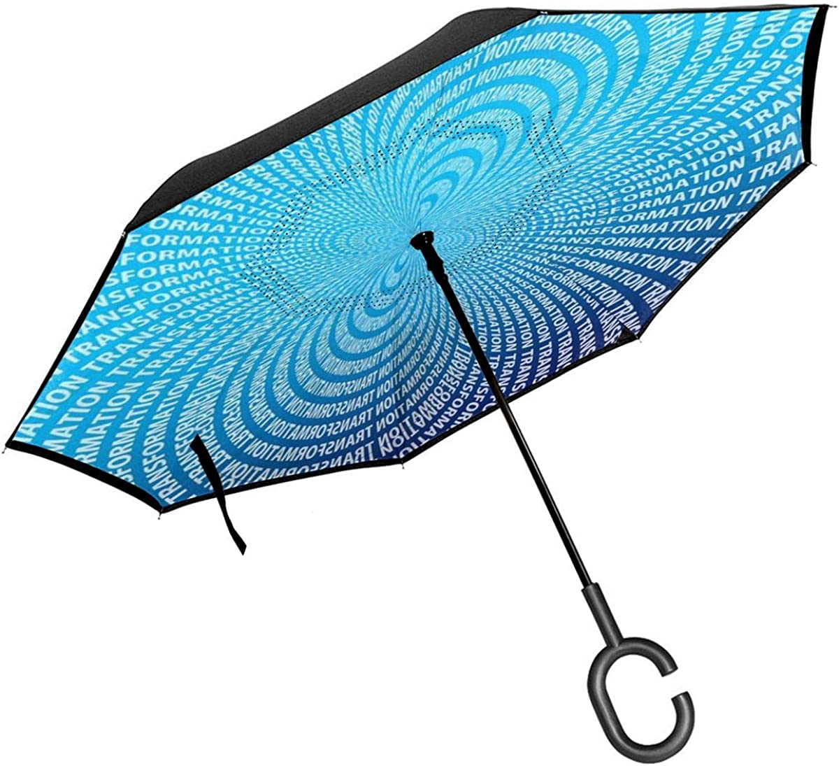 Reverse Umbrella Double Layer Inverted Umbrellas For Car Rain Outdoor With C-Shaped Handle Transformation Concentration Center Ellipse Form Blue Customized
