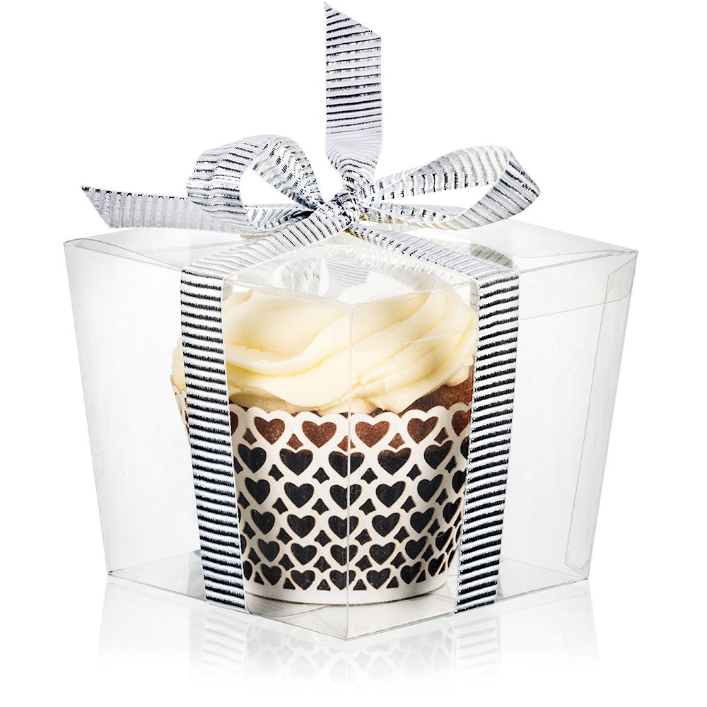 Amazon.com: 25 Clear Boxes for Cupcake or Mini Gift   Display with ...